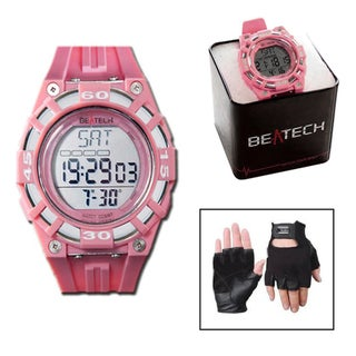 Beatech Heart Rate Monitor Pink Watch and Black Leather Glove Set