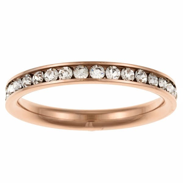 Stainless Steel Clear Stackable Cubic Zirconia Eternity Band