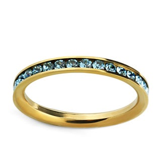 Stainless Steel Goldtone Blue Cubic Zirconia Eternity Band