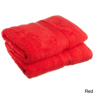 Superior Luxurious & Absorbent 900 GSM Combed Cotton Bath Towel (Set of 2) (Option: RED)