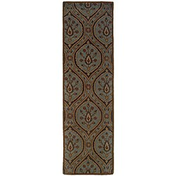 Hand-tufted Green Wool Area Rug (2'3 x 8')
