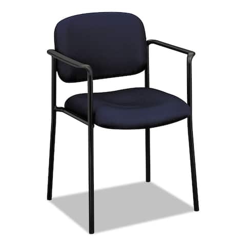 HON VL616 Series Navy Fabric Stacking Guest Chair with Arms