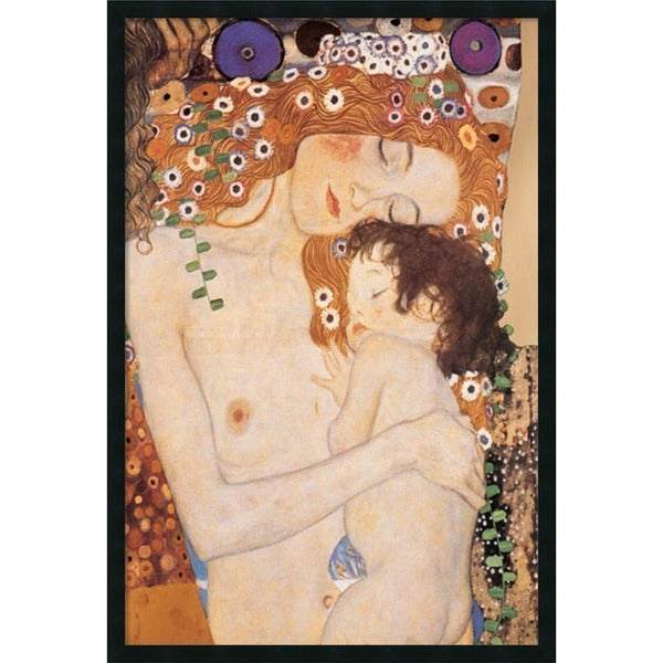 Framed Art Print Three Ages of Woman - Mom and Child, 1905 by Gustav Klimt 26 x 38-inch