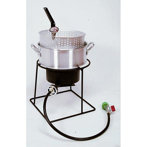 King Kooker 12-Inch Outdoor Cooker with Aluminum Fry Pan - Black/silver