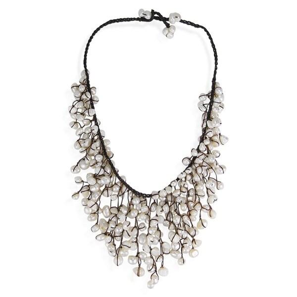 Handmade Cotton Natural Pearls Waterfall Bib Necklace (7-12 mm) (Thailand)