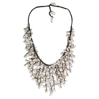 Handmade Cotton Natural Pearls Waterfall Bib Necklace (7-12 mm) (Thailand)