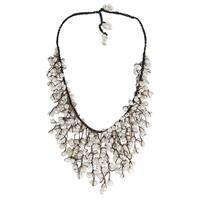 Handmade Cotton Natural Pearls Waterfall Bib Necklace (Thailand)