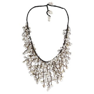 Handmade Cotton Natural Pearls Waterfall Bib Necklace (Thailand)