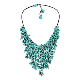 Cotton Pearl and Turquoise Waterfall Bib Necklace (7-12 mm) (Thailand)