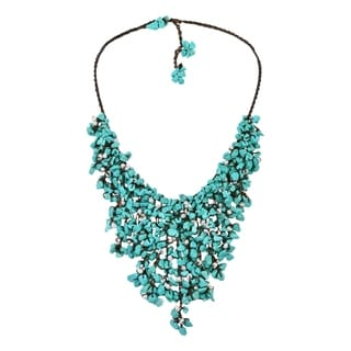 Handmade Cotton Pearl and Turquoise Waterfall Bib Necklace (7-12 mm) (Thailand)