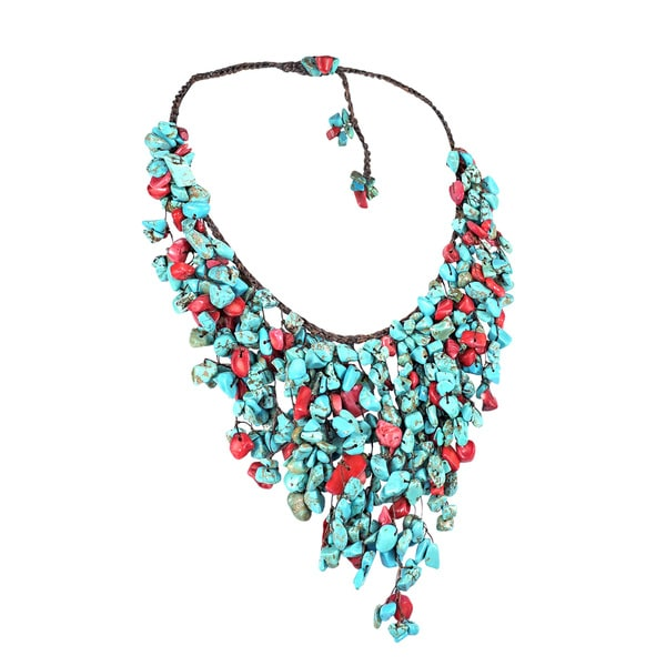 Handmade Cotton Red Coral and Turquoise Waterfall Bib Necklace (Thailand)
