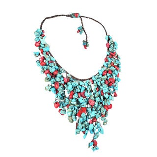 Cotton Red Coral and Turquoise Waterfall Bib Necklace (Thailand)