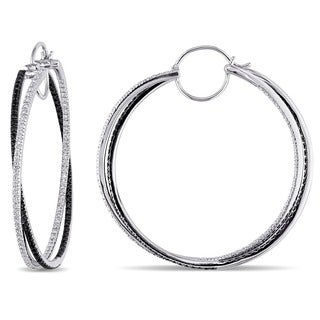 Miadora Signature Collection 14k White Gold 1 3/5ct TDW Black and White Diamond Earrings (G-H, SI2)