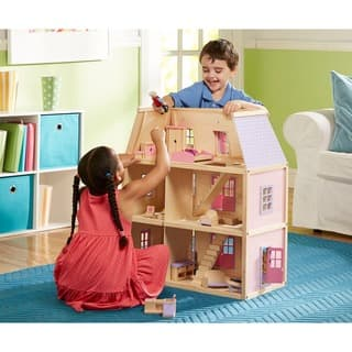Melissa & Doug Multi-level Colorful Hand Painted Wooden Dollhouse|https://ak1.ostkcdn.com/images/products/5848885/P13561695.jpg?impolicy=medium