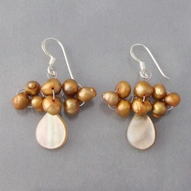 Handmade Silver Mother of Pearl/ Gold Pearl Dangle Earrings (4-5 mm) (Thailand)