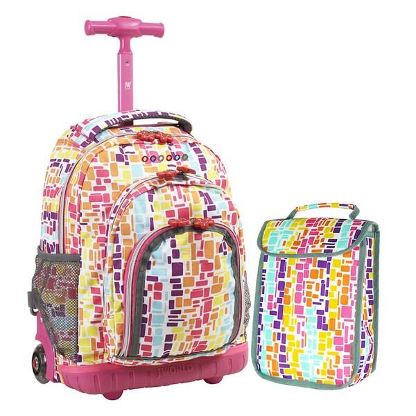 J World 'Lollipop' 16-inch Kids Rolling Backpack/Lunch Bag