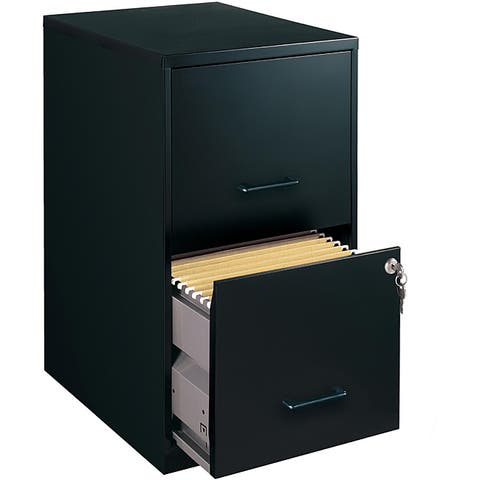 "Space Solutions 18"" Deep 2-drawer Metal File Cabinet, Black"