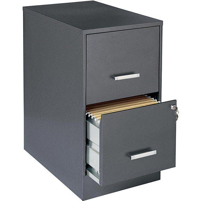 Office Designs Metallic Charcoal-colored 2-drawer Steel File Cabinet - Thumbnail 0