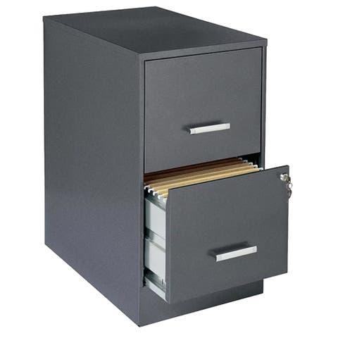 "Space Solutions 22"" Deep 2-Drawer Metal File Cabinet, Metallic Charcoal"