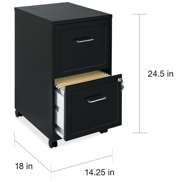 """Space Solutions 18"""" Deep 2-drawer Mobile File Cabinet, Black"""