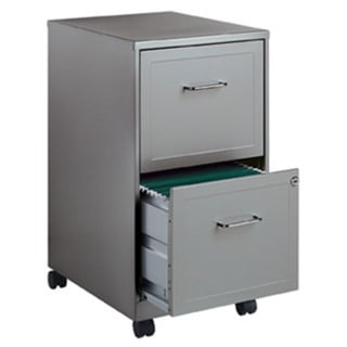 "Space Solutions 18"" Deep 2-drawer Mobile File Cabinet, Silver"