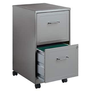"""Space Solutions 18"""" Deep 2-drawer Mobile File Cabinet, Silver"""