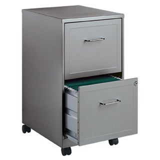 Delightful Office Designs Metallic Silver 2 Drawer Mobile File Cabinet