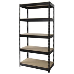 "Iron Horse 3800 lb Riveted Shelving, 5-Shelf, 72""Hx36""Wx18""D, Black"