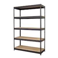 Iron Horse Black Riveted Steel 5-shelf Shelving