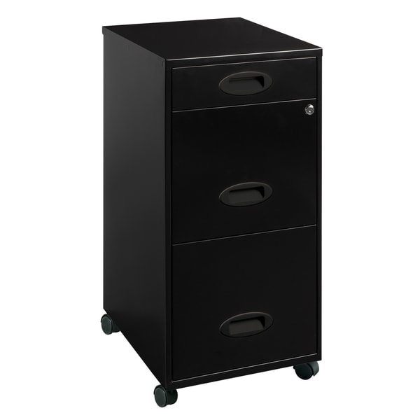 Space Solutions Black 3-drawer Mobile File Cabinet. Opens flyout.