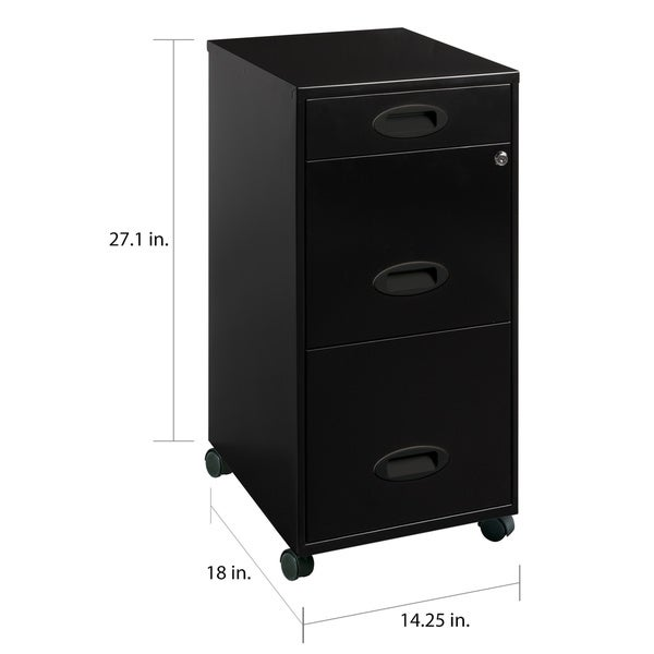 Space Solutions Black 3-drawer Mobile File Cabinet