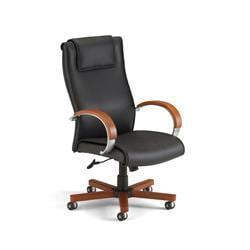 OFM Executive Leather Chair with Wood Accents -