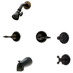 Double-handle Oil Rubbed Bronze Bath Tub and Shower Head Set