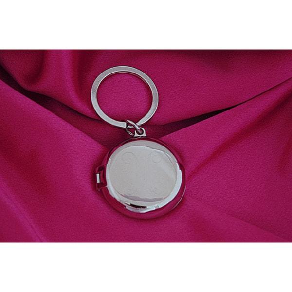 Silverplated Round Locket Key Chain