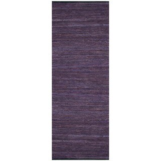 Hand-woven Matador Purple Leather Rug (2'6 x 12')