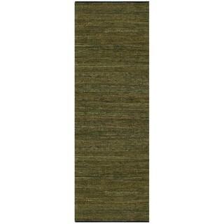 "Hand-woven Matador Green Leather Rug (2'6 x 12) - 2'6"" x 12'"