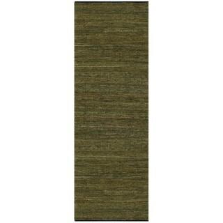 Hand-woven Matador Green Leather Rug (2'6 x 12)