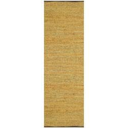 Hand-woven Matador Gold Leather Rug (2'6 x 12)