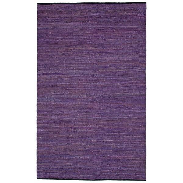 Hand-woven Matador Purple Leather Rug (4' x 6')