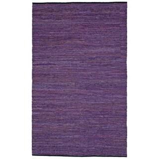 Hand-woven Matador Purple Leather Rug (4' x 6') - 4' x 6'