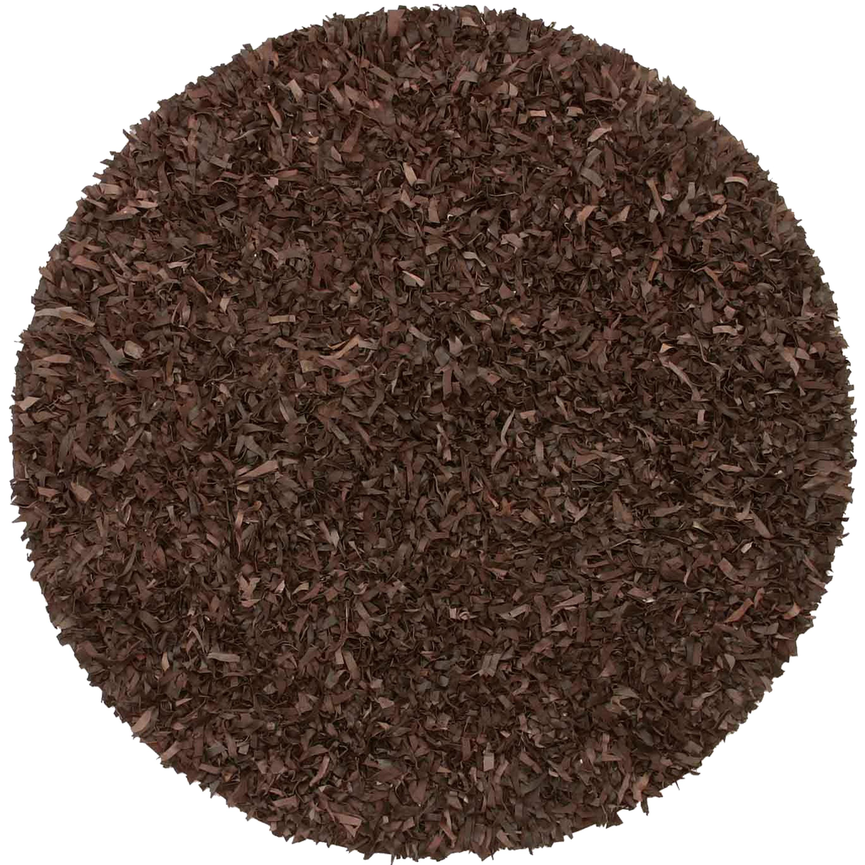 Hand Tied Pelle Brown Leather Shag Rug (4u0027 Round)