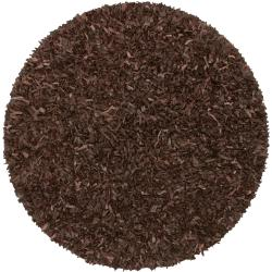 Hand-tied Pelle Brown Leather Shag Rug (4' Round)
