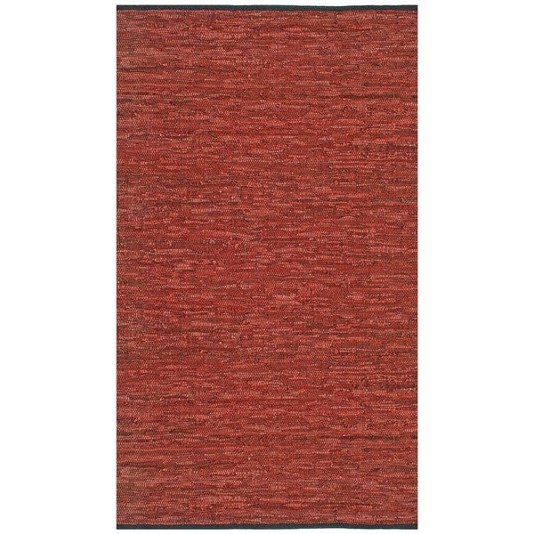Hand-woven Matador Copper Leather Rug (4' x 6') - 4' x 6'