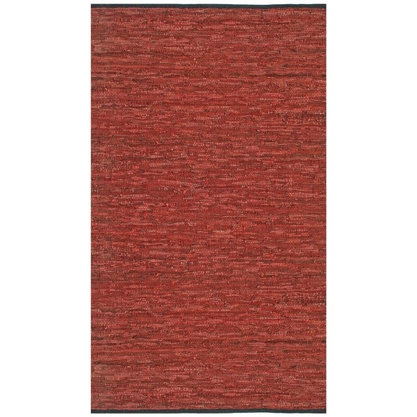 Hand-woven Matador Copper Leather Rug (4' x 6')