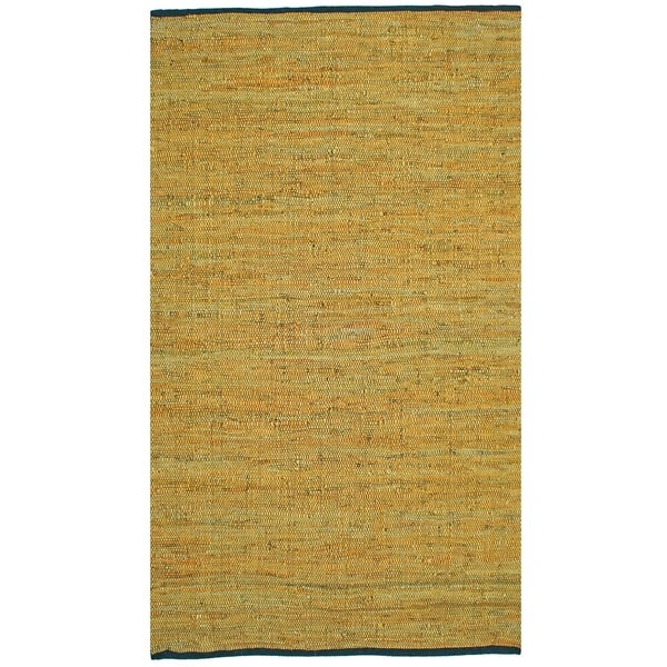 Shop Hand Woven Matador Gold Leather Rug 5 X 8 On