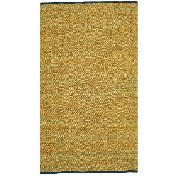 Hand-woven Matador Gold Leather Rug (5' x 8')