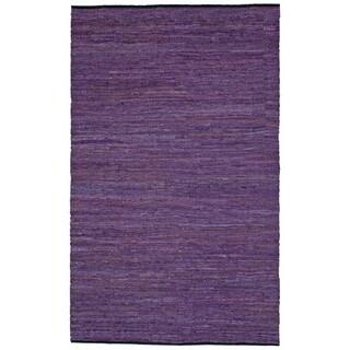 Hand-woven Matador Purple Leather Rug (5' x 8') - 5' x 8'