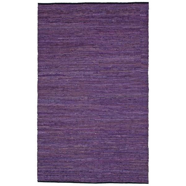 Hand-woven Matador Purple Leather Rug (5' x 8')