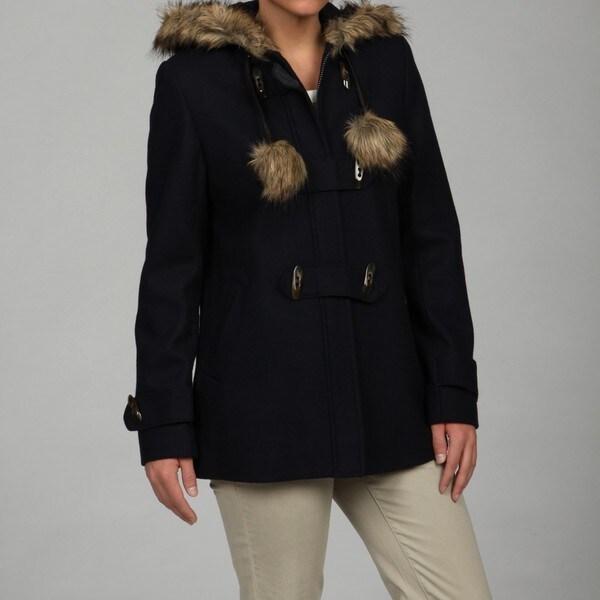 Esprit Women's Navy Faux-fur Trim Jacket