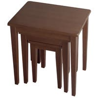 Winsome Walnut Beechwood 3-piece Nesting Tables